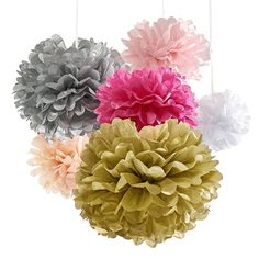 Tissue Paper Flowers, 18 Pom Poms Kit For Valentines, Super-Fun Pink And Gold Party Supplies For Bachelorette Bridal Party, Baby Shower, Wedding Decorations, Birthdays, Hot Pink Peach White and Silver ** To view further, visit now : Valentine Gifts