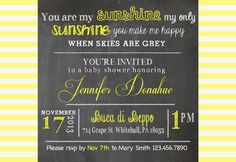 You are My Sunshine Baby Shower Invitation by MallorieMaeArtist, $20.00