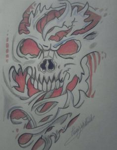 Skull tattoo design by TerrzWhitfield on DeviantArt Skull Butterfly Tattoo, Evil Skull Tattoo, Skull Sleeve Tattoos, Devil Tattoo, Body Art Tattoos, Tattoo Design Drawings, Skull Tattoo Design, Tattoo Sleeve Designs, Skull Stencil