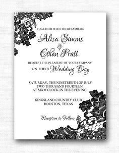 Black Lace Wedding Invitation, 5x7 Printable Invitation, Wedding (Black Lace Wedding 010)