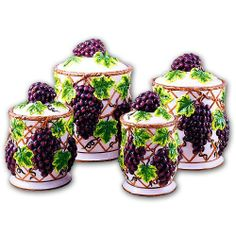 Grape Kitchen Items | review grapes kitchen canisters set ceramic fruit theme home decor