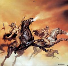 iIllustration: Valkyrie by artist Boris Vallejo. He is a Peruvian painter who works almost exclusively in the fantasy-erotic genres. His paintings have appeared on the covers of several science fiction and fantasy books. Boris Vallejo, Julie Bell, Ride Of The Valkyries, Bell Art, Asgard, Fantasy Figures, Fantasy Kunst, Sword And Sorcery, Norse Mythology