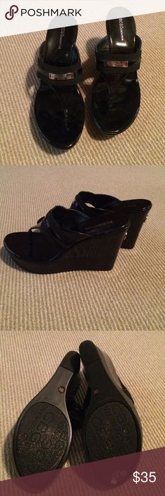 BCBGeneration black wedges sz 10 Very cute black BCBG wedges.  Only worn a few times and in good condition.  No Trades!! BCBGeneration Shoes Wedges