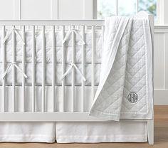 Belgian Linen Bumper Set, White with Grey Broken Arrow Crib Fit