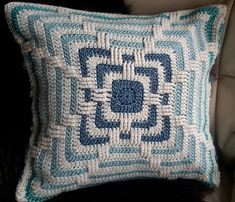 Ravelry: Faded Love pattern by Julie Yeager Crochet Pillow Patterns Free, Crochet Chart, Crochet Stitches, Knit Crochet, Knitted Baby, Crochet Cushion Cover, Crochet Cushions, Crochet Curtains, Crochet Squares