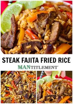 This Steak Fajita Fried Rice is so much better than ordering take out! Have your fiesta at home! #friedrice #beef #dinner #fajitarice