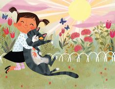 """Illustrations from """"Where Does Kitty Go in the Rain? Art And Illustration, Book Illustrations, Crazy Cats, Cat Art, Cat Lovers, Book Art, Drawings, Artwork, Prints"""