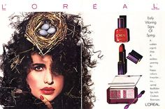 Throwback L'Oreal--This Thursday, we take a look back at L'Oreal Paris' makeup advertisements from the starring Andie Macdowell. You probably recogonize the actress from a few other L'Oreal campaigns since she has been the face 1980s Makeup, Vintage Makeup Ads, Retro Makeup, Vintage Beauty, Vintage Ads, Vintage Advertisements, Make Up Loreal, History Of Cosmetics, Makeup History