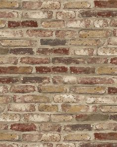 Wallpaper SAMPLE 12 inch Designer Red Orange Cream & Tan Tuscan Faux Brick Wall in Home & Garden, Home Improvement, Building & Hardware