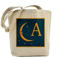 Monogram Moon and Stars Tote Bag> Moon and Stars Monogrammed Tote> Scarebaby Design