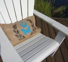 Burlap butterfly pillow #turquoise blue