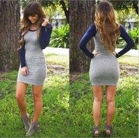 Wish   2016 New Winter Long-sleeved O-neck Package Hip Skirt Dress Boutique Fashion Dress Sexy Dress Knitted Dress