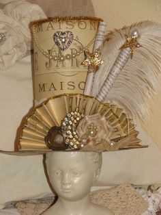 Items similar to Whimsical Vintage Paper Hat on Etsy