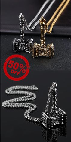 Stainless Steel Thor Hammer Pendant Necklace [2 Variation]