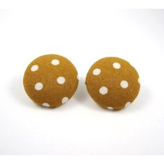 Brown Polka Dot Earring Studs Brown and White Round Free Shipping Etsy ❤ liked on Polyvore