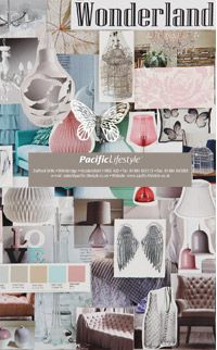 """2014 Trends by Pacific Lifestyle - """"Wonderland"""" - dreamy ethereal color, white/pastel pink/mint green/""""gilver"""" (gold/silver mix), soft organic shapes"""