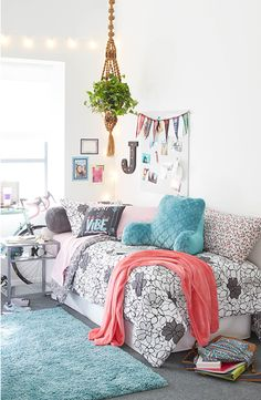 Dorm Room Love! Create a space that is so you . Add fun patterns, comfy bedding, pop of color and of course those little details like plants or photos that make your dorm room feel like home away from home. Click the link to shop our full Dorm Shop!