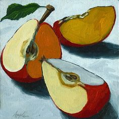 Sliced Apple Still Life Oil Painting by Linda Apple - Art - mini caramel apples Painting & Drawing, Apple Painting, Fruit Painting, Painting Canvas, Canvas Art, Painting Videos, Painting Tutorials, Painting Abstract, Acrylic Paintings