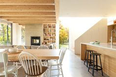 Shefford House by La SHED Architecture of Montreal Concrete Fireplace, Fireplace Hearth, Marble Fireplaces, Shed Design, House Design, La Shed Architecture, Shed Construction, Fireplace Bookshelves, Global Home