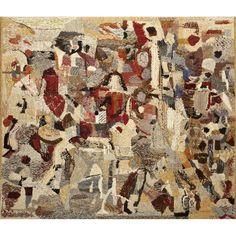 Sten Kauppi (1922-2002) Sans titre, circa 1960 Tapisserie en lin et coton Signée en bas à gauche 198 x 230 cm