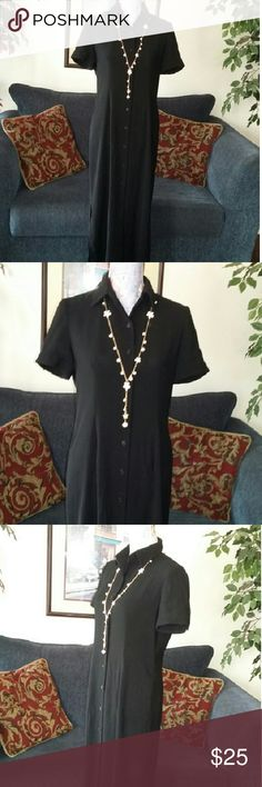 Ann Taylor Petites Career Long Button Down Dress This is a beautiful long button-down dress by Ann Taylor size 8 petite. It does have a collar and the sleeves are short sleeve and they do have a button on the cuff of the sleeve. There is no liner with this dress. The material is 100% polyester. The dress does have about a 16-inch slit give or take a few inches on each side of the dress for ease of walking. This is pre-owned but it's in excellent condition. Thank you for looking Ann Taylor…