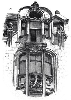 House in Strasbourg. Architects Luttke & Backes. The architecture of the second half of the XIX century. Drawings and sketches.