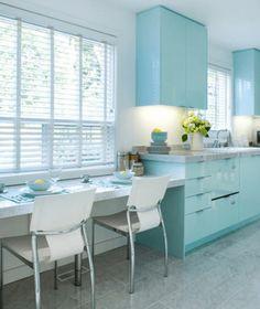white kitchen with baby blue cabinets, pantone island paradise, light turquoise, caribbean blue, sky blue, tiffany blue, aqua blue