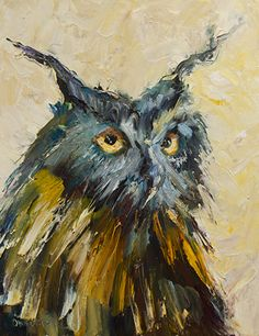 Owl Art Painting - Owl Study by Diane Whitehead Wildlife Paintings, Bird Paintings, Oil Painting Lessons, Rooster Painting, Clark Art, Love Oil, Out Of The Woods, Great Horned Owl, Owl Art