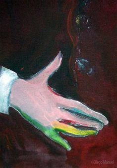 Retrato de Andres Calamaro.Painting of the Serie Music for sale by artist Diego Manuel. Cuadro en venta de la Serie Musica