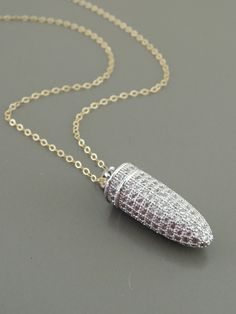Pave Necklace - Gold Necklace - Silver Necklace - Bullet Necklace - Mixed Metal Necklace - handmade jewelry