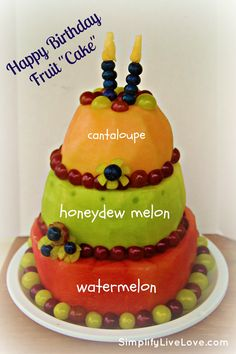 "I think I just found my new favorite Birthday cake! Happy Birthday Fruit ""Cake"" ~ A Tutorial This is the only type of fruit cake I'd eat! Yummy Treats, Sweet Treats, Yummy Food, Fruit Recipes, Dessert Recipes, Healthy Recipes, Delicious Recipes, Snacks Saludables, Snacks Für Party"