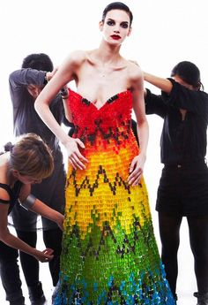 This recreated Alexander McQueen gown was made using 50,000 ______.