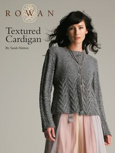Textured Cardigan - this shaped, cable and moss stitch textured cardigan is designed by Sarah Hatton for intermediate knitters - log in to download free pattern