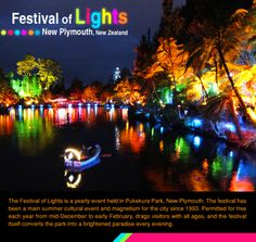 Festival of Lights - New Plymouth, New Zealand :  The Festival of Lights is a yearly #event held in Pukekura #Park, New Plymouth. The #festival has been a main #summer #cultural event and magnetism for the #city since 1993. Permitted for #free each year from mid-December to early February,   __________________  #festivaloflights #newplymouth #newzealandtravel #pukekurapark  #travel #kiwitravel