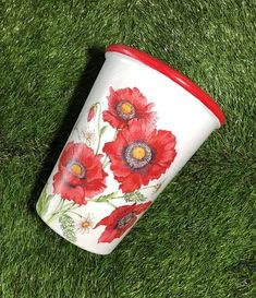 poppy decoupaged plant pot, bright red flower garden planter. Personalised planter for Remembrance D