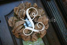 "love this wreath Single Wooden Monogram Letter 18"""