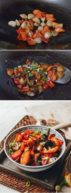 Stir fried Eggplant, Potato and Pepper, Di-San-XIan 地三鲜) Gf Recipes, Asian Recipes, Cooking Recipes, Healthy Recipes, Ethnic Recipes, Chinese Recipes, Drink Recipes, Eggplant Dishes, Eggplant Recipes