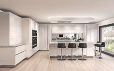 high gloss white handless kitchen. orcadesignltd.com