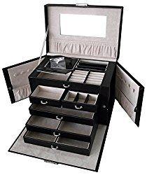 Sodynee Pu Leather Jewelry Box Organizer Display Storage Case with Lock Jewelry Box P//black