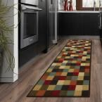 Ottohome Collection Contemporary Checkered Design Multi 1 ft. 8 in. x 4 ft. 11 in. Runner