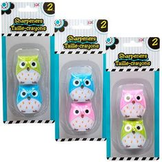 "Owl-shaped Pencil sharpeners add ease and precision to help keep you ""on point"" in your tasks. packs of Jot® Owl-Shaped Pencil Sharpeners assorted among t Pencil Cup, Operation Christmas Child, Desktop Accessories, School Supplies, Art Supplies, Owl, Stationery, Packing, Shapes"