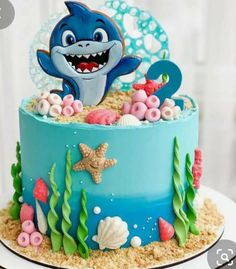 Shark Birthday Cakes, Ideas Aniversario, Baby Shark, Cute Babies, Cake Ideas, Happy Birthday, Inspired, Inspiration, Children Cake