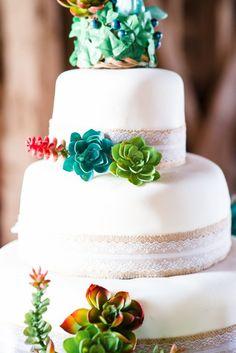 Succulents Wedding Cake