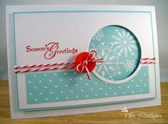 seasons greeting and snow swirl....note to self...like card format change design to accommodate picture where snowflakes are....