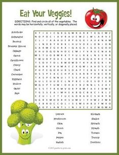 Help your kids learn the names and spelling of 28 different vegetables with this colorful and fun puzzle activity. You could use this word search either for a supplemental handout while doing a unit on nutrition or as a way to enrich vocabulary. Nutrition Activities, Nutrition Education, Kids Nutrition, Nutrition Classes, Cheese Nutrition, Nutrition Store, Nutrition Shakes, Word Puzzles, Puzzles For Kids