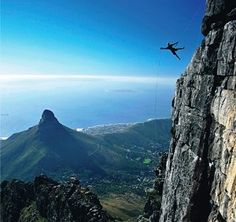 Abseiling Table Mountain - the world's highest commercial abseil (Cape Town South Africa). Abseiling, Cape Town South Africa, Table Mountain, Adventure Time, Adventure Travel, Luxury Travel, Outdoor Activities, Journey, Mountains