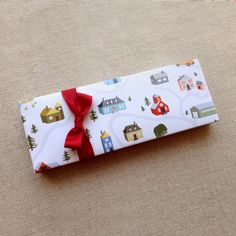 Illustrated Village Wrapping Paper, Flat Sheet Paper