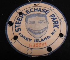 Vintage-Coney-Island-Steeplechase-Park-Punch-Card-Ticket....... Penny Arcade, Coney Island, Amusement Parks, Perfect Place, Vintage Photos, Ticket, Punch, Brooklyn, Stuff To Do