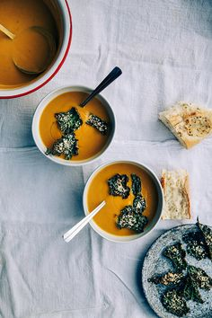 """vegan creamy kabocha + roasted chestnut soup w/ kale sesame """"leaves"""" garnish -- from At Home In The Whole Food Kitchen by Amy Chaplin"""