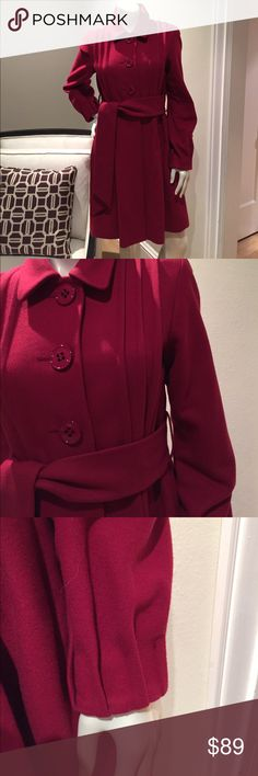 THEORY Women's Red Pleated Button Long Trench Excellent Condition!  Goes well with everything for work or casual with jeans. Theory Jackets & Coats Trench Coats